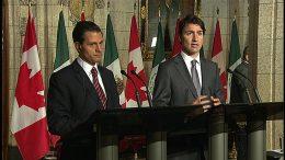 El Primer Ministro de Canadá, Justin Trudea, junto al Presidente de México, Enrique Pena Nieto, durante el anuncio de la eliminación de visa para los ciudadanos mexicanos el pasado 02 de agosto.